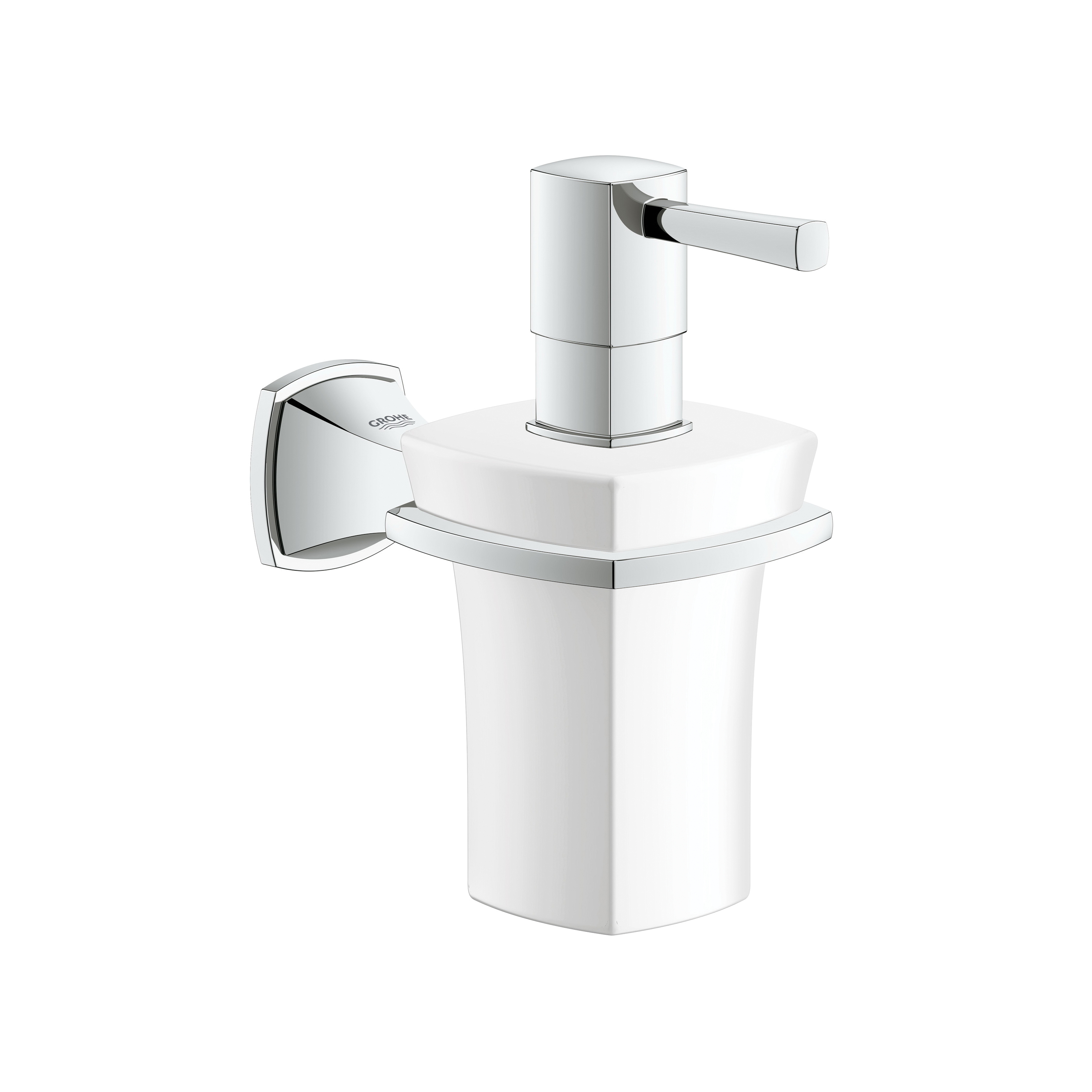 GROHE 40627000 Grandera™ Soap Dispenser With Holder, StarLight® Chrome, 5-13/16 in OAL, Ceramic, Import