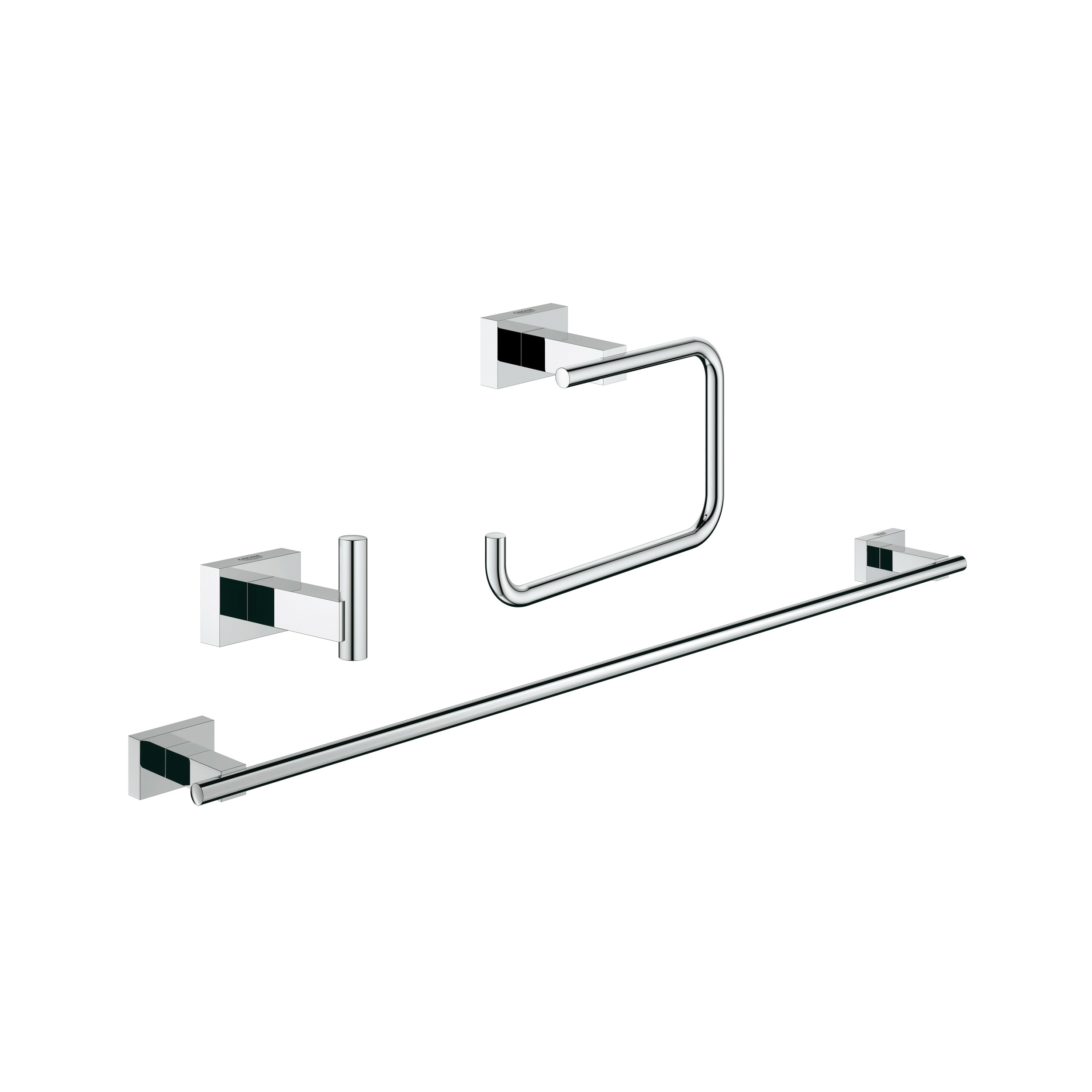 GROHE 40777001 Essentials Cube Guest Bathroom Accessories Set, 1 Bar, 1 Hook, Import