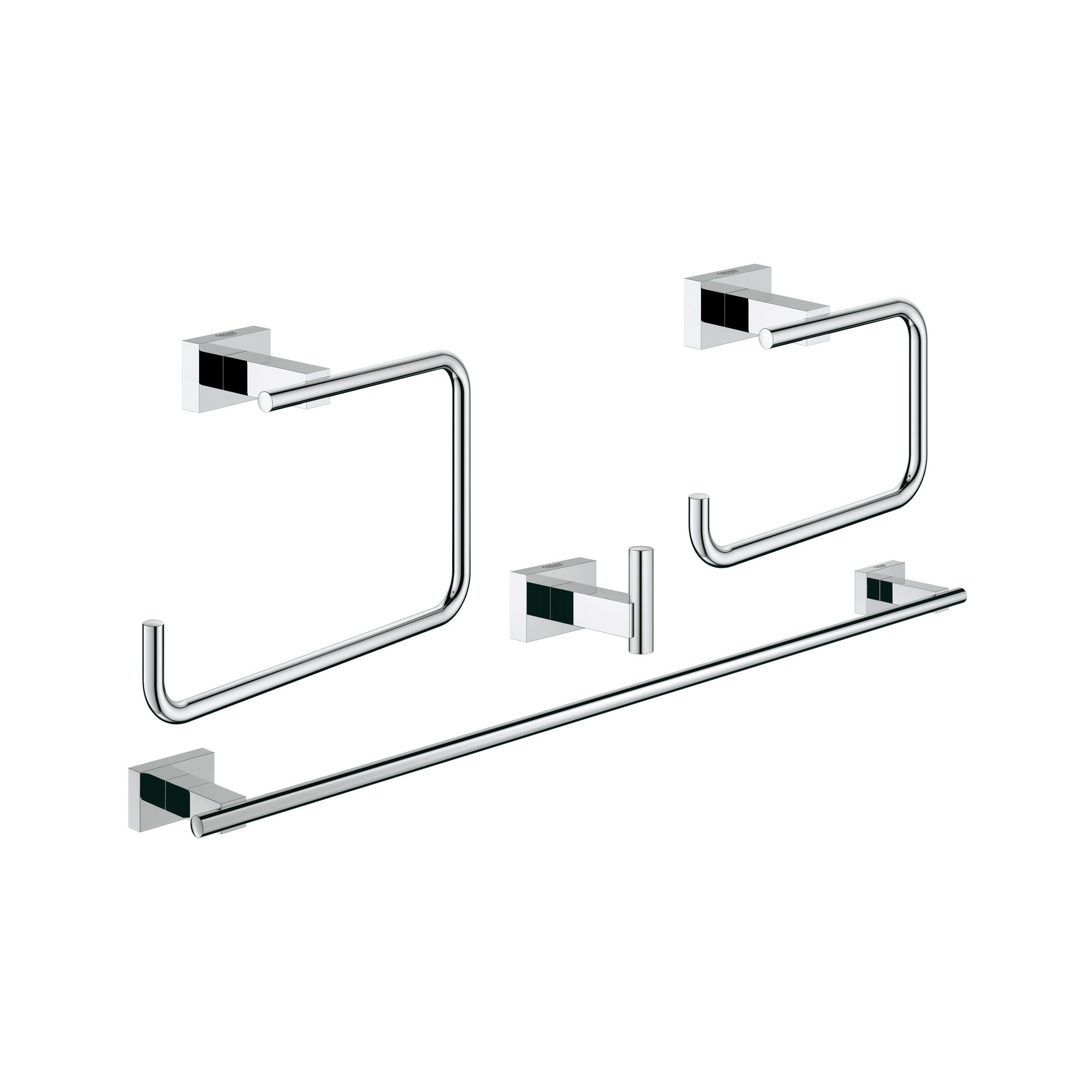 GROHE 40778001 Essentials Cube 4-In-1 Master Bathroom Accessories Set, Metal, Import