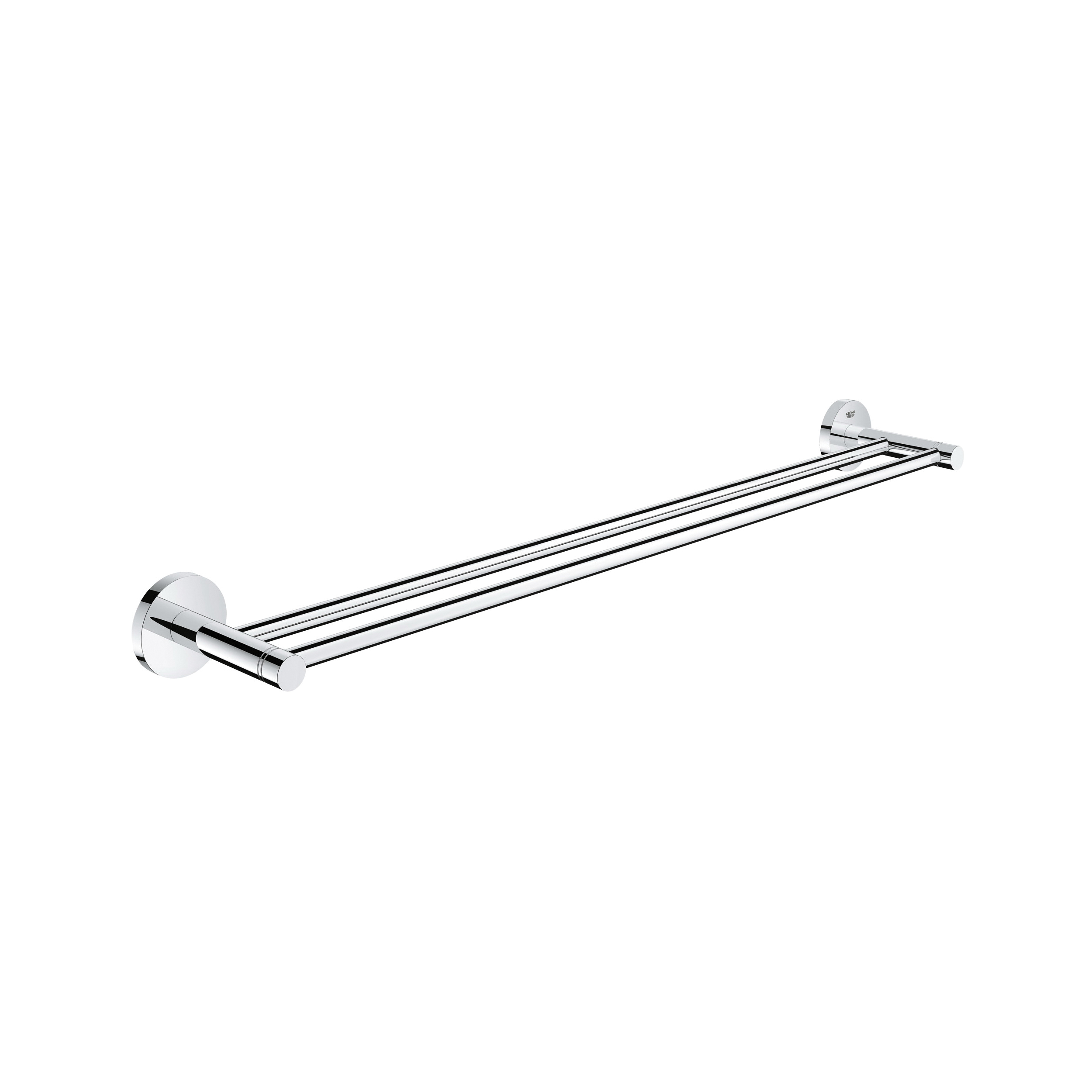 GROHE 40802001 Essential™ Double Towel Rail, 23-5/8 in L Bar, 4-1/8 in OAD, Metal, Import