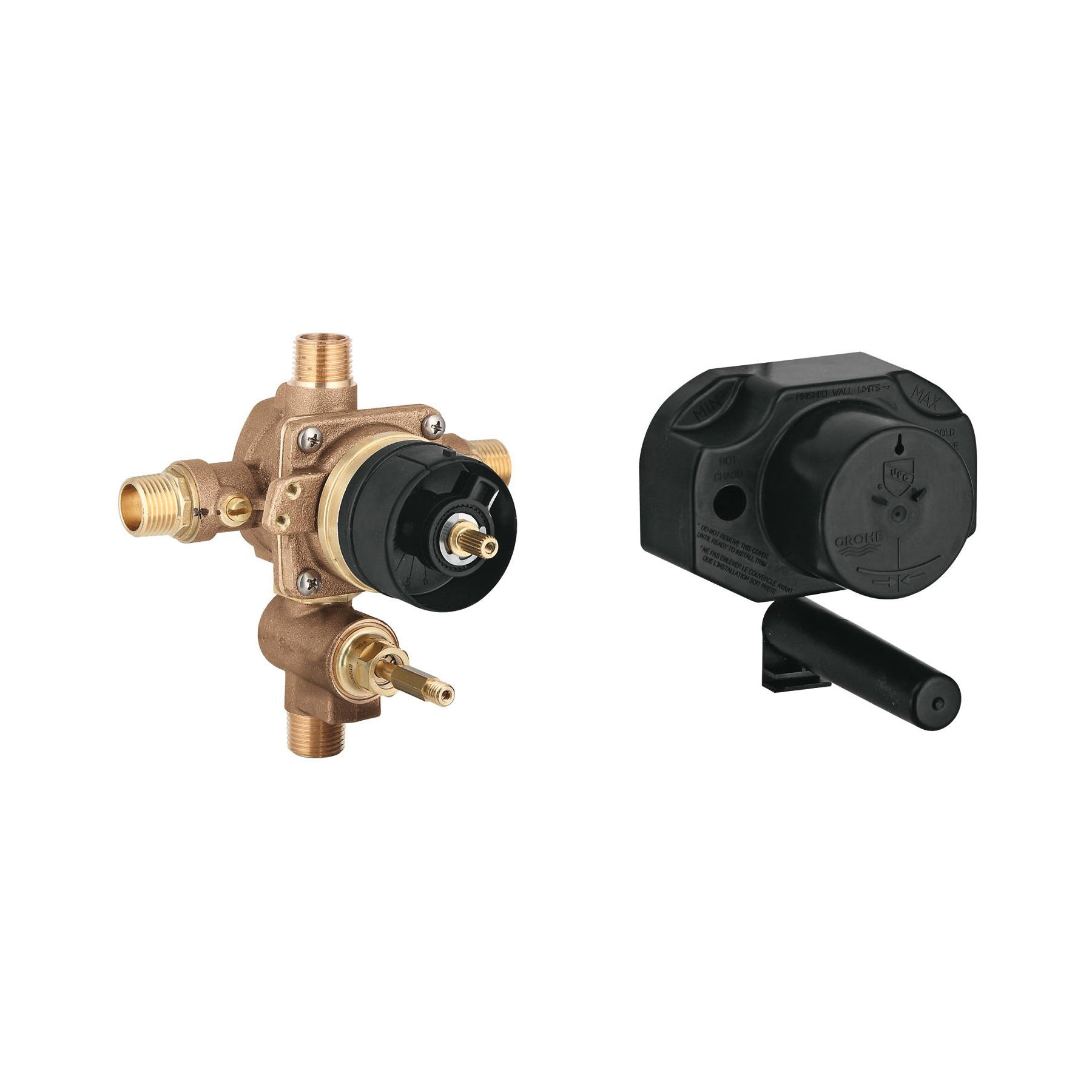 GROHE 35033000 Grohsafe™ Universal Rough-In Valve, 1/2 in C/MNPT Inlet x 1/2 in C/MNPT Outlet, Brass Body, Import