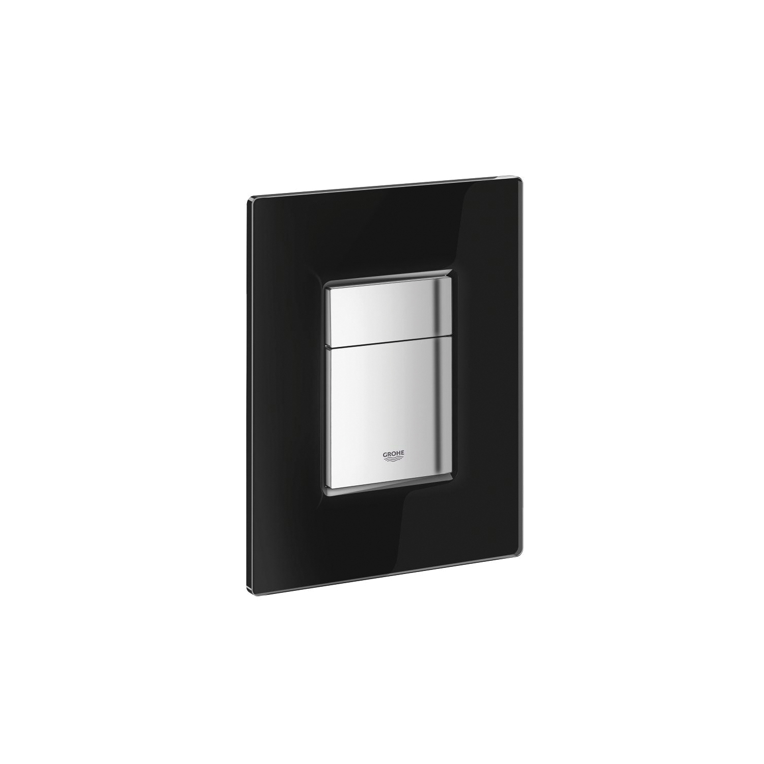 GROHE 38845KS0 Skate Cosmopolitan Wall Plate With Glass Surface, For Use With Dual Flush or Start/Stop Actuation and AV1 Pneumatic Discharge Valve, Plastic/Tempered Glass, StarLight® Velvet Black, Import
