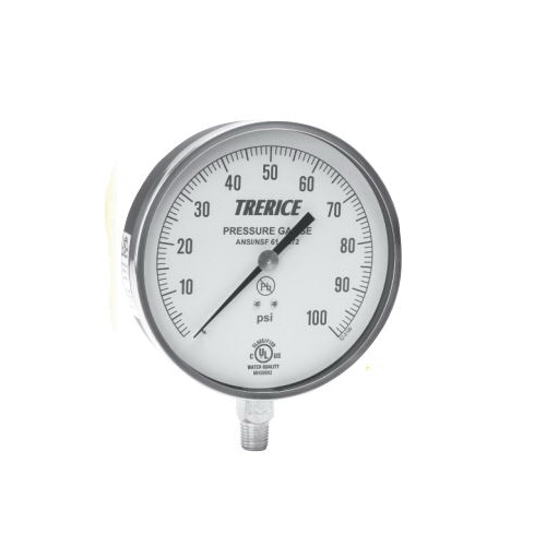 Trerice 600CB 45 02 L A 100 Commercial Grade Contractor Pressure Gauge, 0 to 60 psi, 1/4 in MNPT Lower Connection, 4-1/2 in Dial, +/-1%