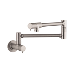 Hansgrohe 04057860 Talis S Pot Filler, 2.5 gpm, Steel Optik, 2 Handles, Residential
