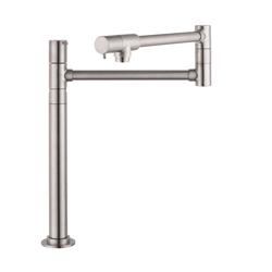 Hansgrohe 04058860 Talis S Freestanding Pot Filler, 2.5 gpm, Steel Optik, 2 Handles, Domestic, Residential