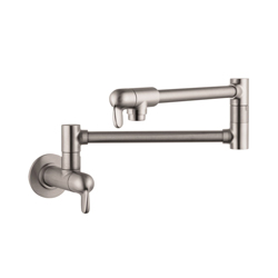 Hansgrohe 04059860 Allegro E Pot Filler, 2.5 gpm, Steel Optik, 2 Handles, Residential