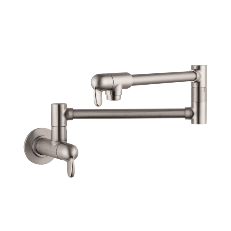 Hansgrohe 04059860 Allegro E Pot Filler, 2.5 gpm, Steel Optik, 2 Handles, Residential