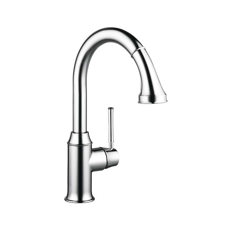 Hansgrohe 04215000 Talis C Pull-Down Kitchen Faucet, 1.75 gpm, 1 Faucet Hole, Chrome Plated, 1 Handle, Residential