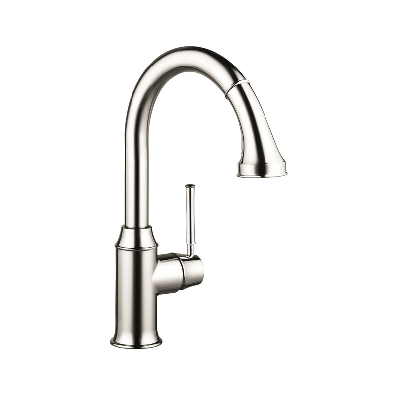 Hansgrohe 04215830 Talis C Pull-Down Kitchen Faucet, 2.2 gpm, 1 Faucet Hole, Polished Nickel, 1 Handle, Residential