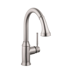 Hansgrohe 04216800 Talis C Pull-Down Prep Kitchen Faucet, 1.75 gpm, 1 Handle, Steel Optik, Residential