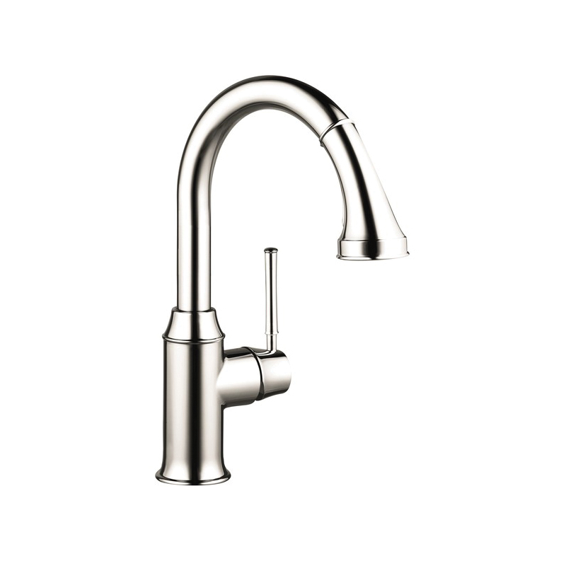 Hansgrohe 04216830 Talis C Pull-Down Prep Kitchen Faucet, 2.2 gpm, 1 Handle, Polished Nickel, Residential