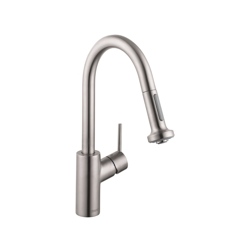 Hansgrohe 04286800 Talis S Pull-Down Prep Kitchen Faucet, 1.75 gpm, 1 Handle, Steel Optik, Residential