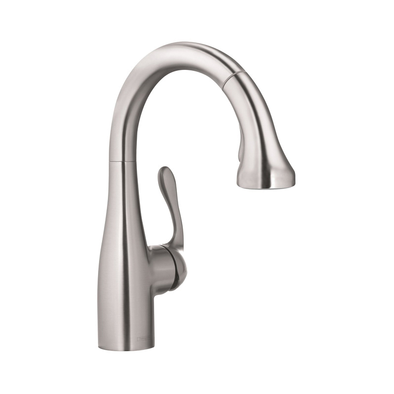 Hansgrohe 04297800 Allegro E Gourmet Pull-Down Prep Kitchen Faucet, 1.75 gpm, 1 Handle, Steel Optik, Residential