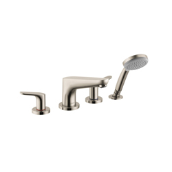 Hansgrohe 4366820 Focus E 4 Roman Tub Set Trim, 5 gpm, Brushed Nickel, 2 Handles, Hand Shower Yes/No: Yes, Import
