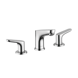 Hansgrohe 04369000 Focus E Widespread Bathroom Faucet, 1.5 gpm, 3-5/8 in H Spout, 8 in Center, Chrome Plated, 2 Handles, Pop-Up Drain, Commercial