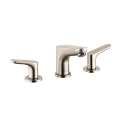 Hansgrohe 04369820 Focus E Widespread Bathroom Faucet, 1.5 gpm, 3-5/8 in H Spout, 8 in Center, Brushed Nickel, 2 Handles, Pop-Up Drain, Commercial
