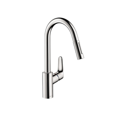 Hansgrohe 04505000 Focus Pull-Down Kitchen Faucet, 1.75 gpm, 1 Faucet Hole, Chrome Plated, 1 Handle, Residential