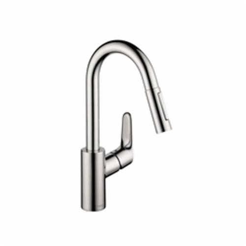 Hansgrohe 04506001 Focus Pull-Down Kitchen Prep Faucet, 1.75 gpm, 1 Faucet Hole, Chrome Plated, 1 Handle, Domestic, Commercial