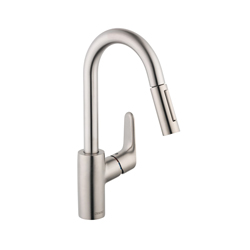 Hansgrohe 04506801 Focus Pull-Down Kitchen Prep Faucet, 2.2 gpm, 1 Faucet Hole, Steel Optic, 1 Handle, Residential