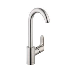 Hansgrohe 04507801 Focus Bar Faucet, 1.5 gpm, 1 Handle, Steel Optik, Residential
