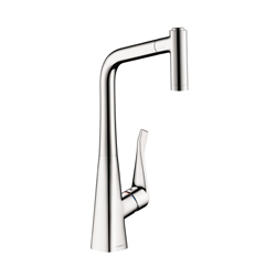 Hansgrohe 04508000 Metris Pull-Out Prep Kitchen Faucet, 2.2 gpm, Chrome Plated, 1 Handles, Residential