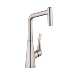 Hansgrohe 04508800 Metris Pull-Out Prep Kitchen Faucet, 2.2 gpm, Steel Optik, 1 Handles, Residential