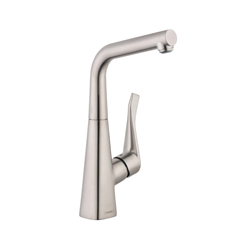 Hansgrohe 04509800 Metris Bar Kitchen Faucet, 1.5 gpm, 1 Handle, Steel Optik, Residential
