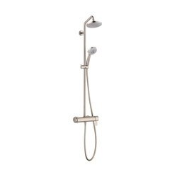 Hansgrohe 04530820 Croma Pressure Balance Shower Pipe, 6-1/4 in Dia Head, 2 gpm, Slide Bar: No, Brushed Nickel
