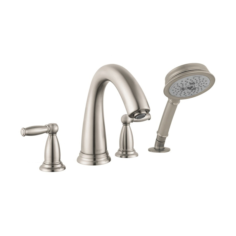 Hansgrohe 6123820 Swing C Roman Tub Set Trim, 5 gpm, 10 in Center, Brushed Nickel, 2 Handles, Hand Shower Yes/No: Yes