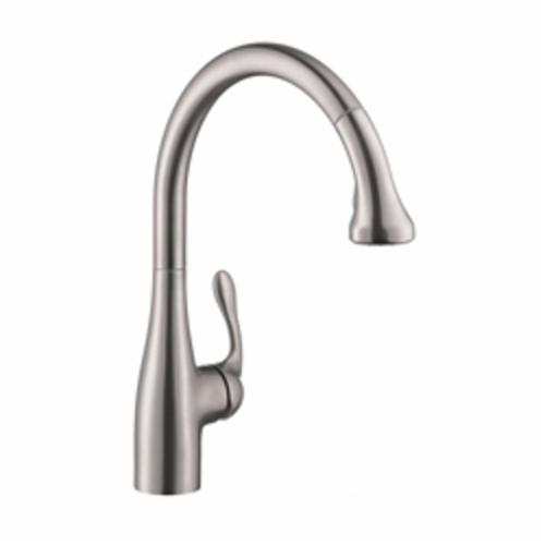 Hansgrohe 06460860 Allegro E Gourmet Semi-Pro Pull-Down Kitchen Faucet, 1.75 gpm, 1 Faucet Hole, Steel Optic, 1 Handle, Import, Commercial