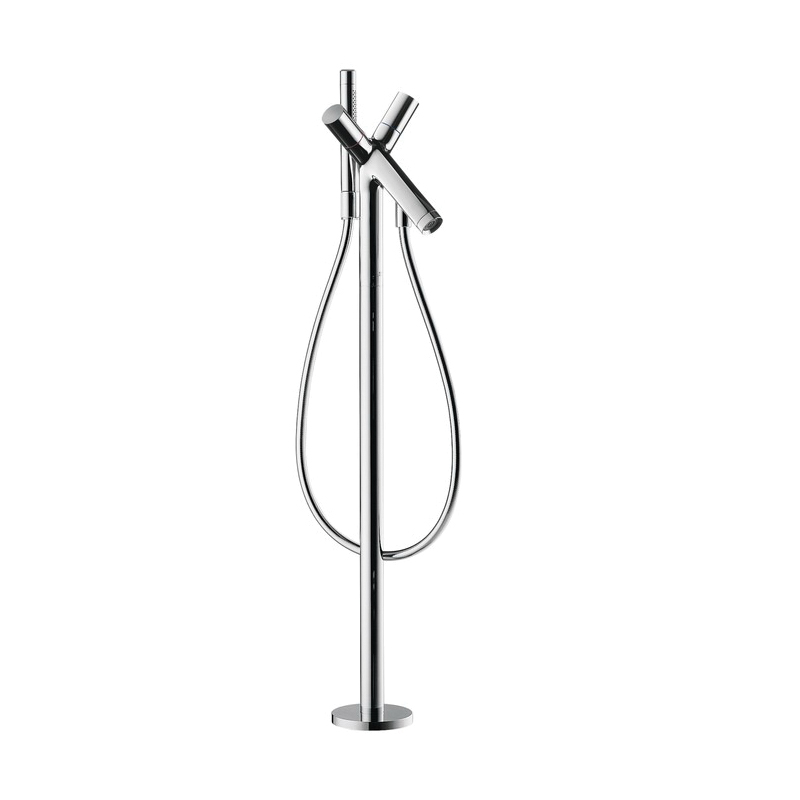 Hansgrohe 10458001 Axor Starck Free Standing Tub Filler Trim, 5.8 gpm, Chrome Plated, 2 Handles, Hand Shower Yes/No: Yes, Import