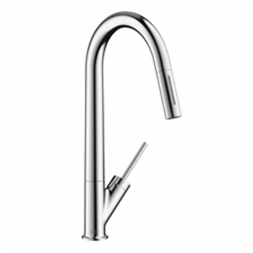 Hansgrohe 10821001 Axor Starck Pull-Down Kitchen Faucet, 1.75 gpm, 1 Faucet Hole, Chrome Plated, 1 Handle, Domestic, Commercial