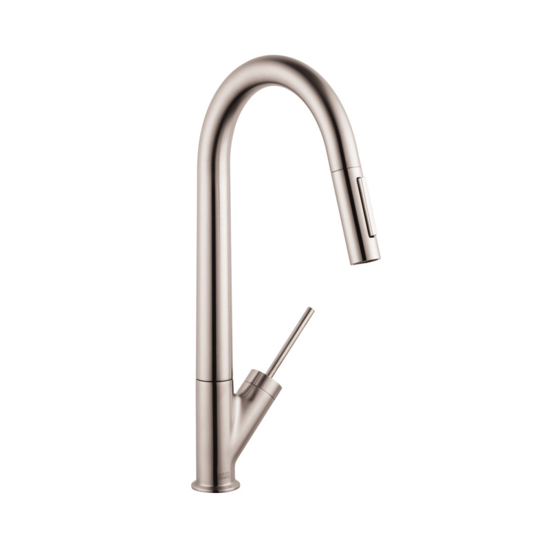 Hansgrohe 10821801 Axor Starck Pull-Down Kitchen Faucet, 2.2 gpm, 1 Faucet Hole, Steel Optic, 1 Handle, Residential