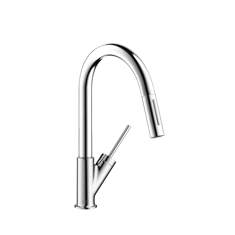 Hansgrohe 10824001 Axor Starck Pull-Down Prep Kitchen Faucet, 2.2 gpm, Chrome Plated, 1 Handles, Residential