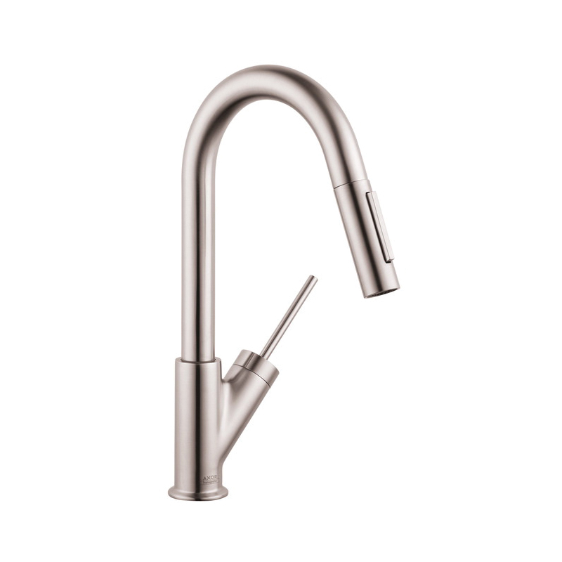 Hansgrohe 10824801 Axor Starck Pull-Down Prep Kitchen Faucet, 2.2 gpm, Steel Optik, 1 Handles, Residential