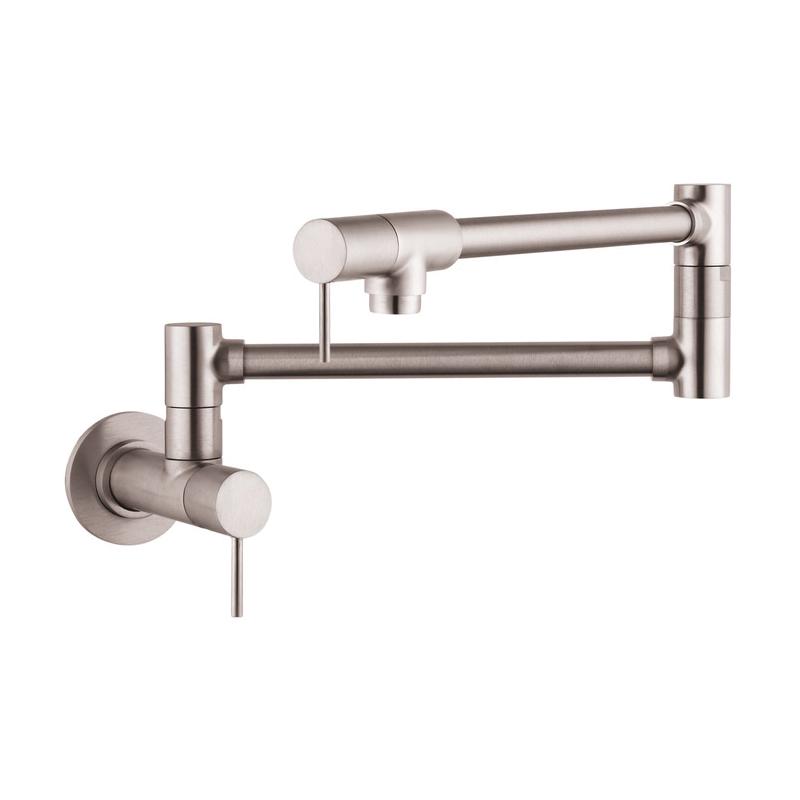 Hansgrohe 10859801 Axor Starck Pot Filler, 2.5 gpm, Steel Optik, 2 Handles, Residential