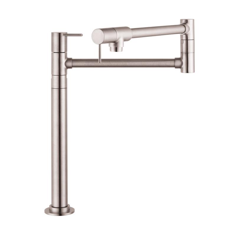 Hansgrohe 10860801 Axor Starck Pot Filler Stand, 2.5 gpm, Steel Optik, 2 Handles, Residential