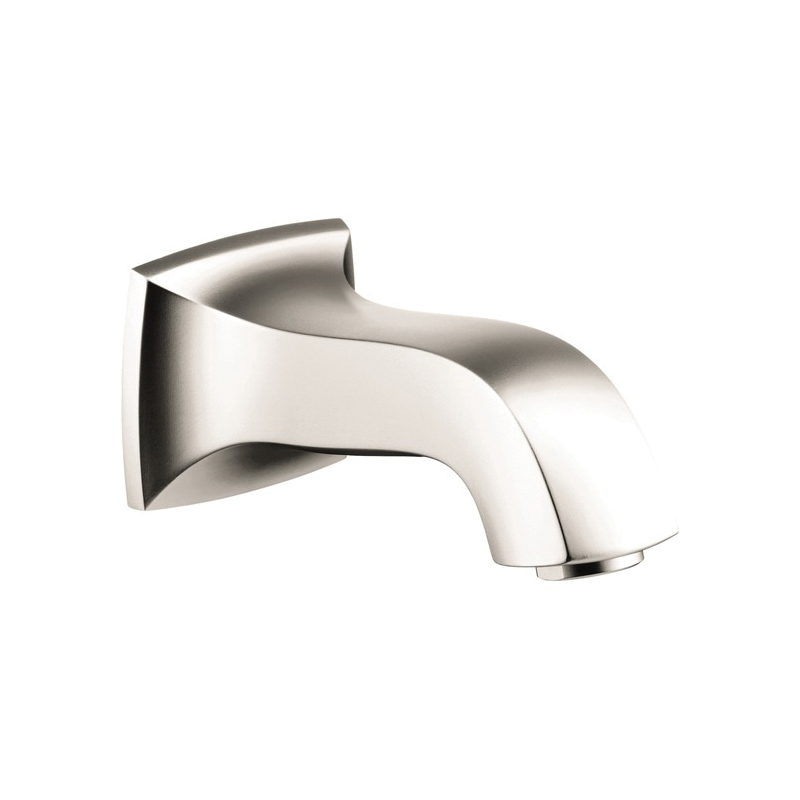Hansgrohe 13413831 Metris C Tub Spout, 6 in L x 1-3/8 in H, Solid Brass, Polished Nickel, Import