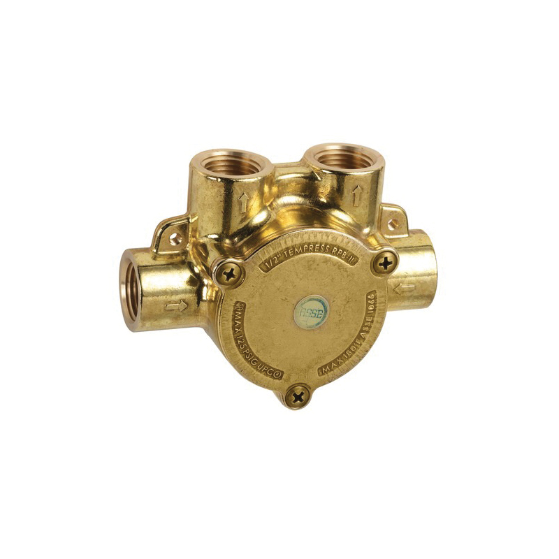 Hansgrohe 13418181 In-Line Pressure Balance Rough-In Valve, 1/2 in FNPT Inlet x 1/2 in FNPT Outlet, 44 psi, 4.5 gpm, Brass Body
