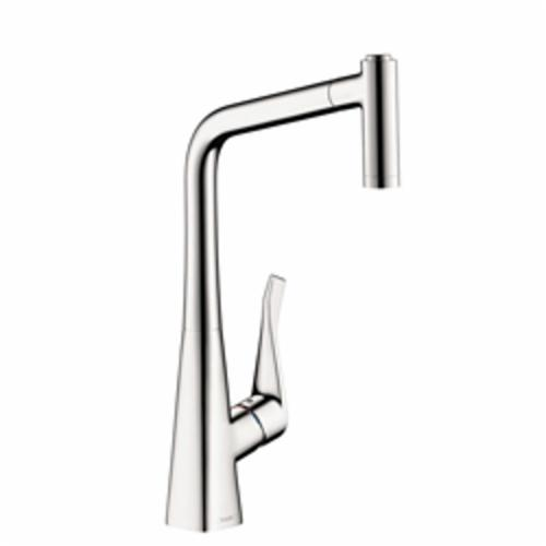 Hansgrohe 14820001 Metris Pull-Out Kitchen Faucet, 1.75 gpm, 1 Faucet Hole, Chrome Plated, 1 Handle, Domestic