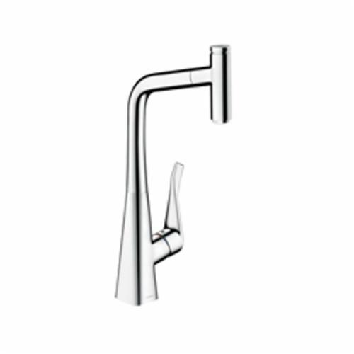 Hansgrohe 14848001 Metris Pull-Out Prep Kitchen Faucet, 1.75 gpm, 1 Handle, Chrome Plated, Residential