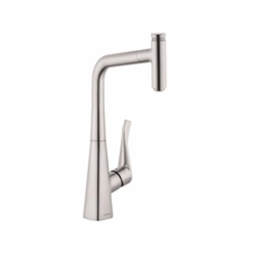 Hansgrohe 14848801 Metris Pull-Out Prep Kitchen Faucet, 1.75 gpm, 1 Handle, Steel Optik, Residential