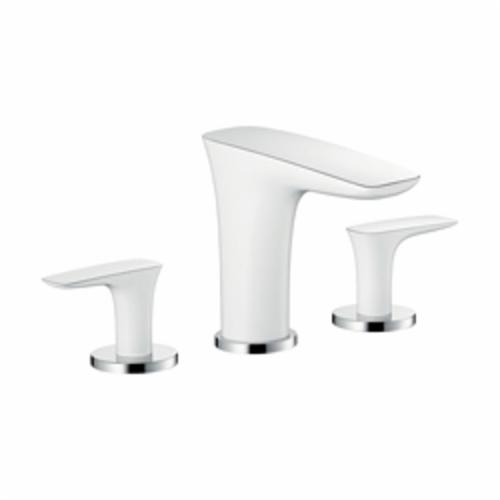 Hansgrohe 15073401 PuraVida 110 Widespread Bathroom Faucet, 1.5 gpm, 4 in H Spout, 8 in Center, Chrome Plated/White, 2 Handles, Import, Commercial