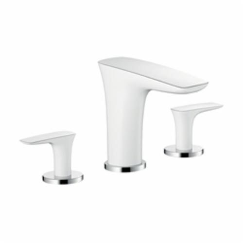 Hansgrohe 15440401 PuraVida Roman Tub Set Trim, 6.6 gpm, Chrome Plated/White, 2 Handles, Hand Shower Yes/No: No