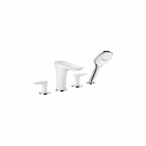 Hansgrohe 15446401 PuraVida Roman Tub Set Trim, 6 gpm, 8-5/8 in Center, Chrome Plated/White, 2 Handles, Hand Shower Yes/No: Yes
