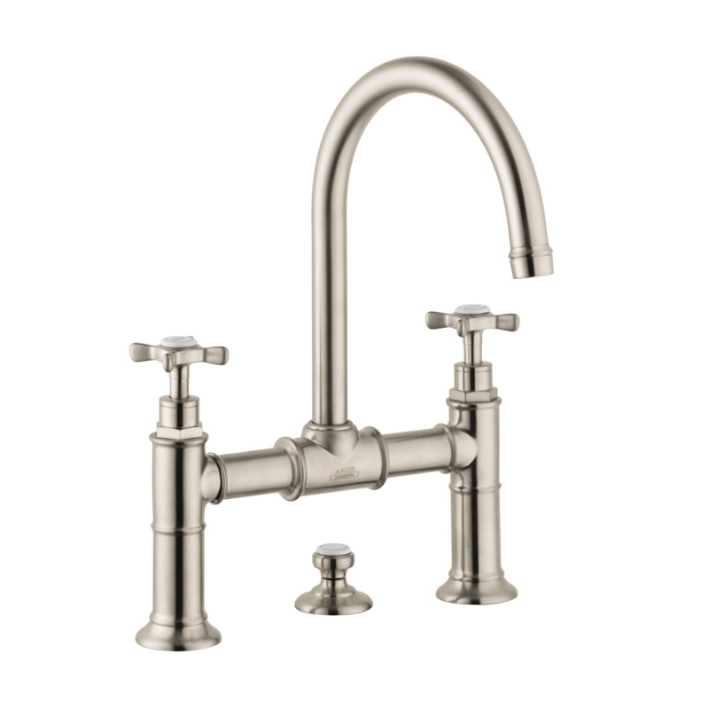 Hansgrohe 16510821 Axor Montreux Widespread Bathroom Faucet, 1.2 gpm, 8-7/8 in H Spout, 8 in Center, 2 Handles, Pop-Up Drain, Brushed Nickel, Commercial