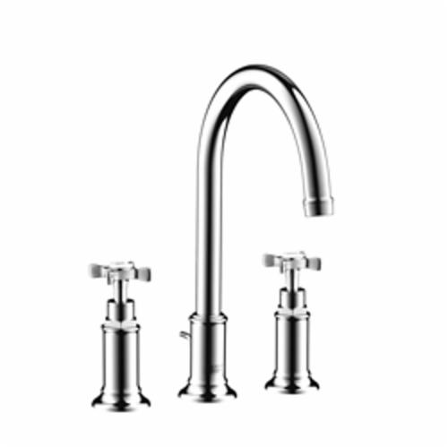 Hansgrohe 16513001 Axor Montreux Widespread Bathroom Faucet, 1.2 gpm, 7 in H Spout, 8 in Center, 2 Handles, Pop-Up Drain, Chrome Plated, Commercial