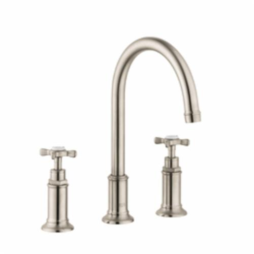 Hansgrohe 16513821 Axor Montreux Widespread Bathroom Faucet, 1.2 gpm, 7 in H Spout, 8 in Center, 2 Handles, Pop-Up Drain, Brushed Nickel, Commercial