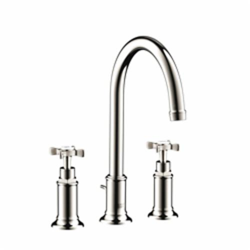 Hansgrohe 16513831 Axor Montreux Widespread Bathroom Faucet, 1.2 gpm, 7 in H Spout, 8 in Center, 2 Handles, Pop-Up Drain, Polished Nickel, Commercial