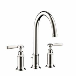 Hansgrohe 16514831 Axor Montreux Widespread Bathroom Faucet, 1.2 gpm, 7 in H Spout, 8 in Center, 2 Handles, Pop-Up Drain, Polished Nickel, Commercial